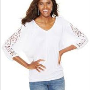 INC Concepts International Crochet 3/4 Sleeve Top